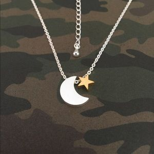 Silver Moon Gold Star Necklace